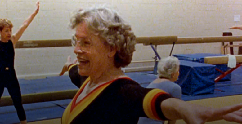 Older adults doing gymnastics